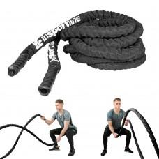 Jėgos-kovos virvė su nailonine apsauga inSPORTline Waverope 15m 50mm 21,8 kg