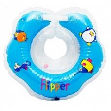 Plaukimo ratas kūdikiams ant kaklo Flipper mėlynas