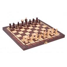 Maži mediniai šachmatai + šaškės